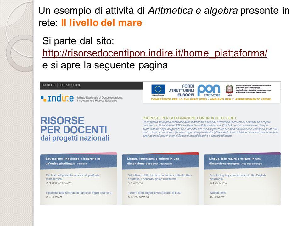 Un esempio di attività di Aritmetica e algebra presente in rete: Il livello del mare Si parte dal sito: http://risorsedocentipon.indire.it/home_piatta