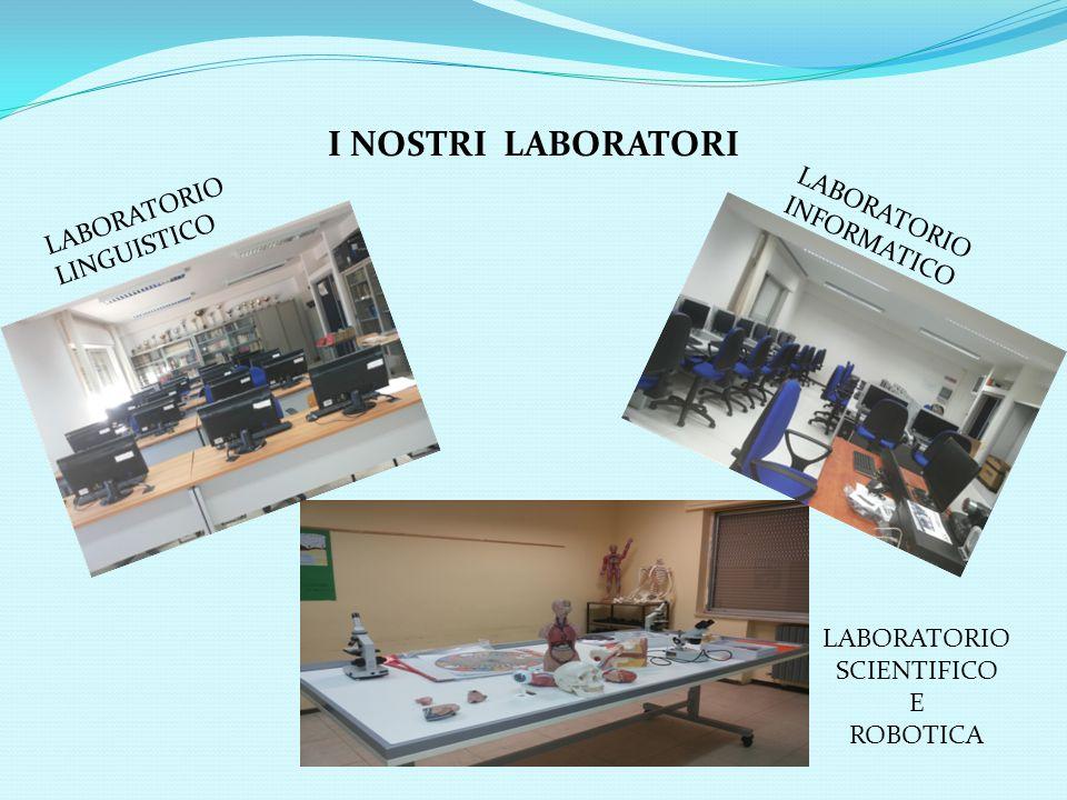 I NOSTRI LABORATORI LABORATORIO LINGUISTICO LABORATORIO INFORMATICO LABORATORIO SCIENTIFICO E ROBOTICA