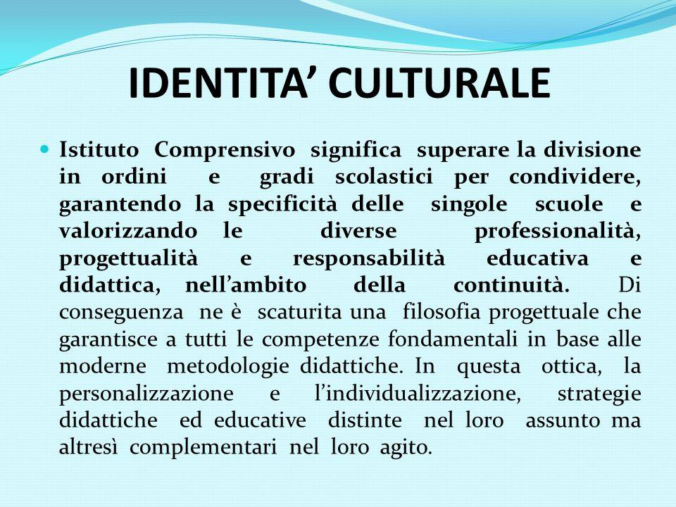 IDENTITA CULTURALE Istituto Comprensivo significa superare la divisione in ordini e gradi scolastici per condividere, garantendo la specificità delle