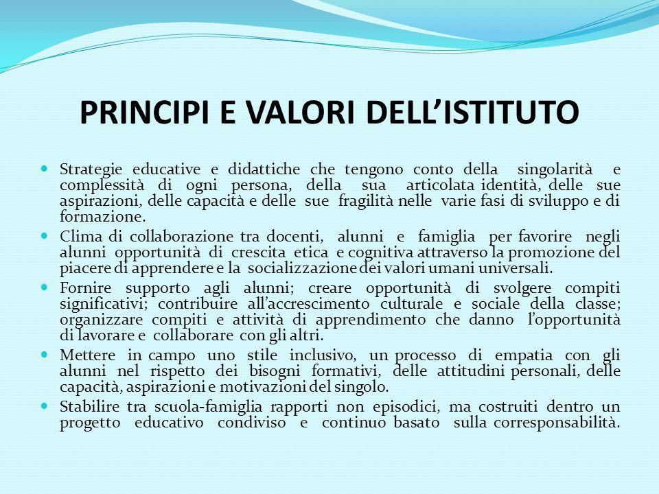 PRINCIPI E VALORI DELLISTITUTO Strategie educative e didattiche che tengono conto della singolarità e complessità di ogni persona, della sua articolat