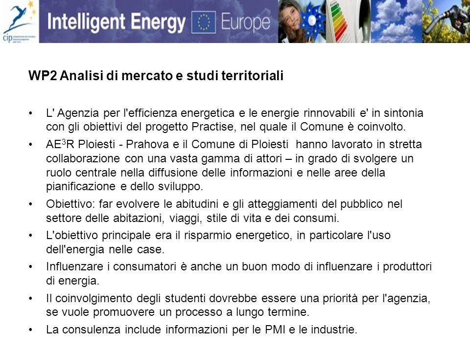 WP2 Analisi di mercato e studi territoriali L Agenzia per l efficienza energetica e le energie rinnovabili e in sintonia con gli obiettivi del progetto Practise, nel quale il Comune è coinvolto.