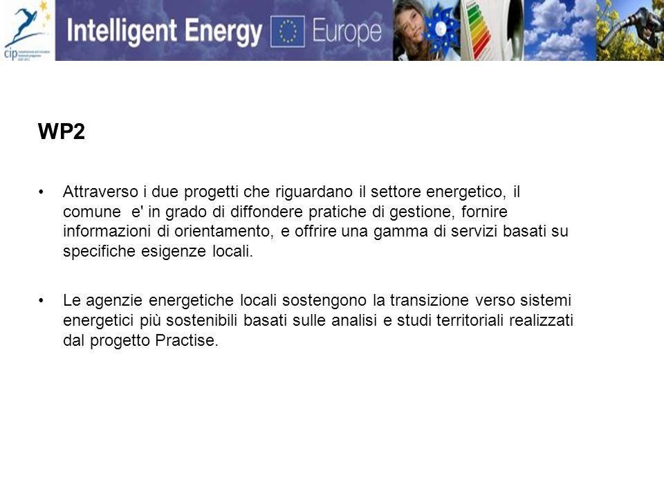 WP2 Attraverso i due progetti che riguardano il settore energetico, il comune e in grado di diffondere pratiche di gestione, fornire informazioni di orientamento, e offrire una gamma di servizi basati su specifiche esigenze locali.