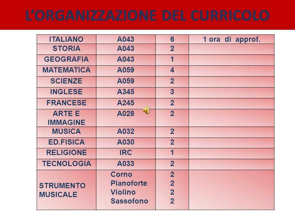 LORGANIZZAZIONE DEL CURRICOLO ITALIANOA04361 ora di approf. STORIAA0432 GEOGRAFIAA0431 MATEMATICAA0594 SCIENZEA0592 INGLESEA3453 FRANCESEA2452 ARTE E