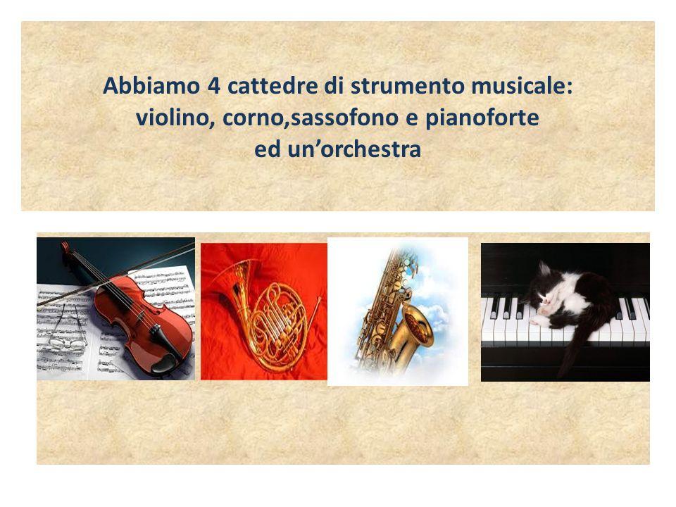 Abbiamo 4 cattedre di strumento musicale: violino, corno,sassofono e pianoforte ed unorchestra