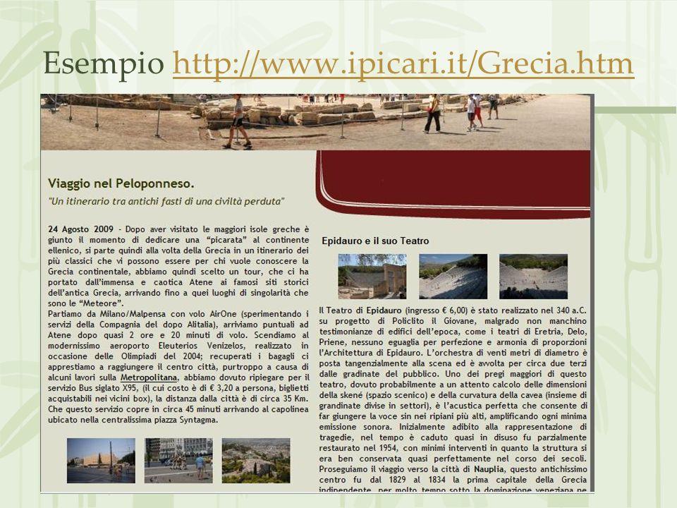 Esempio http://www.ipicari.it/Grecia.htmhttp://www.ipicari.it/Grecia.htm
