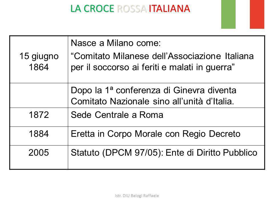 LA CROCE ROSSA ITALIANA 15 giugno 1864 Nasce a Milano come: Comitato Milanese dellAssociazione Italiana per il soccorso ai feriti e malati in guerra D