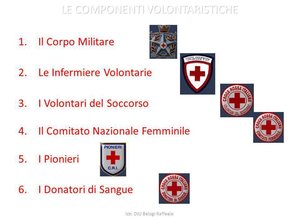 1.Il Corpo Militare 2.Le Infermiere Volontarie 3.I Volontari del Soccorso 4.Il Comitato Nazionale Femminile 5.I Pionieri 6.I Donatori di Sangue LE COM