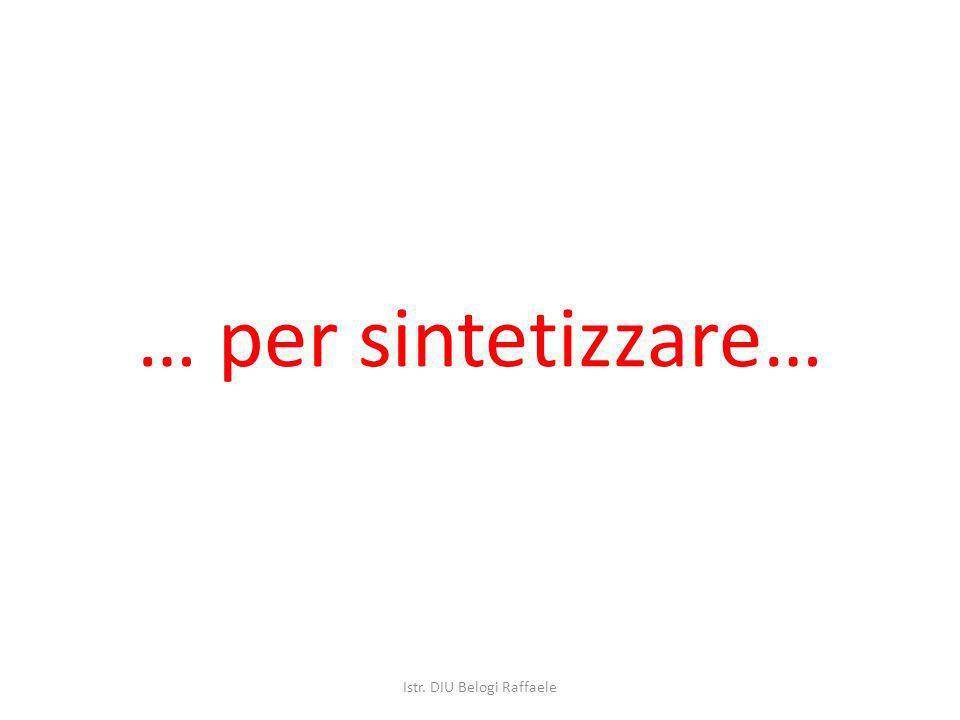 … per sintetizzare… Istr. DIU Belogi Raffaele