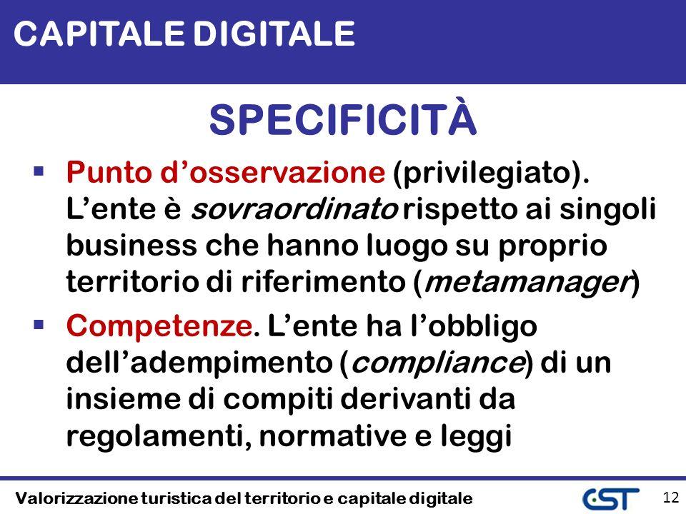 Valorizzazione turistica del territorio e capitale digitale 12 CAPITALE DIGITALE SPECIFICITÀ Punto dosservazione (privilegiato).