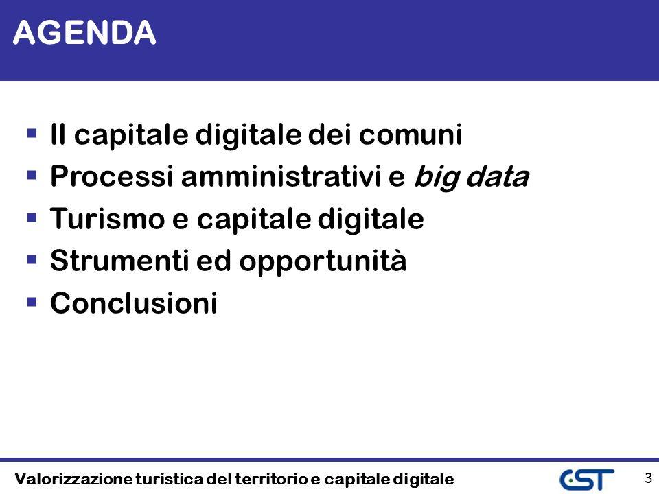 Valorizzazione turistica del territorio e capitale digitale 3 AGENDA Il capitale digitale dei comuni Processi amministrativi e big data Turismo e capitale digitale Strumenti ed opportunità Conclusioni