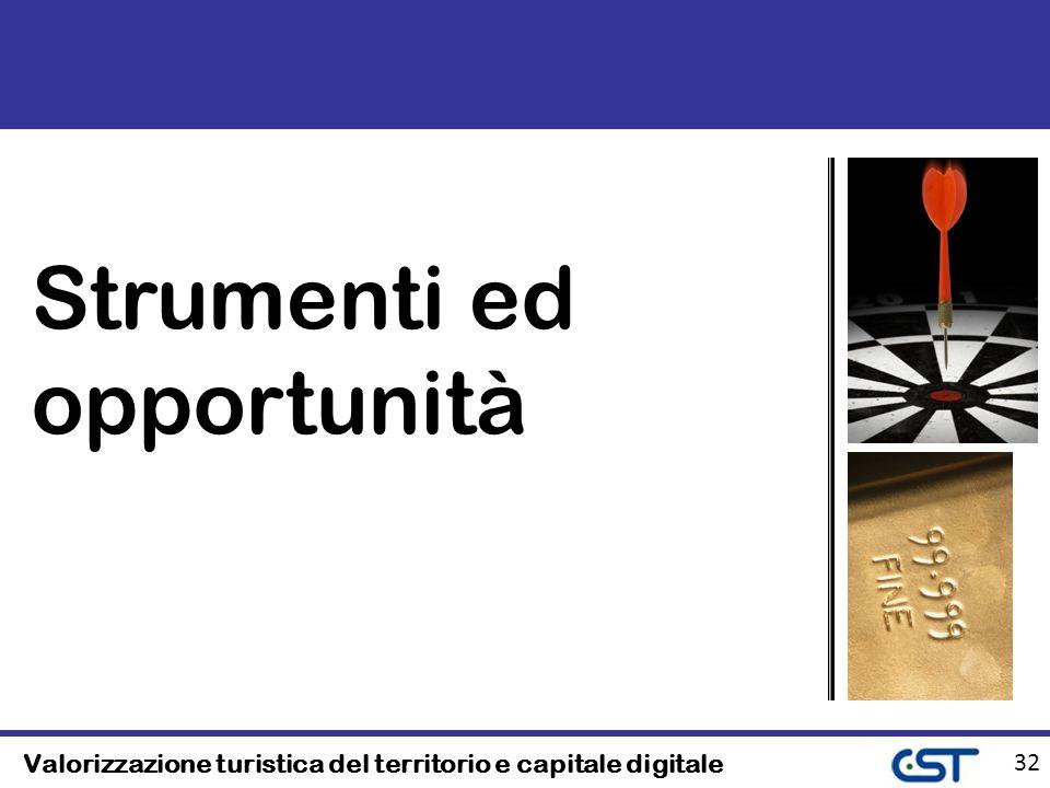 Valorizzazione turistica del territorio e capitale digitale 32 Strumenti ed opportunità