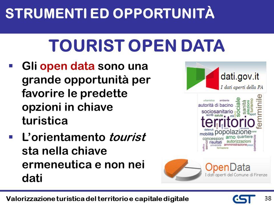Valorizzazione turistica del territorio e capitale digitale 38 TOURIST OPEN DATA Gli open data sono una grande opportunità per favorire le predette opzioni in chiave turistica Lorientamento tourist sta nella chiave ermeneutica e non nei dati STRUMENTI ED OPPORTUNITÀ