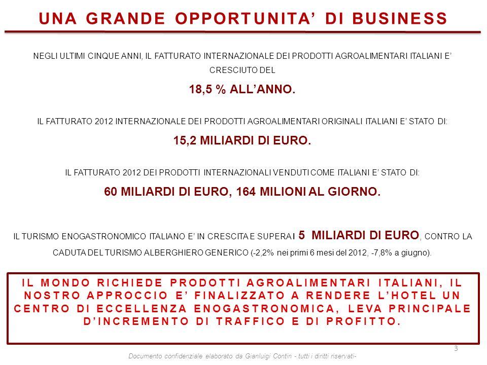 NEGLI ULTIMI CINQUE ANNI, IL FATTURATO INTERNAZIONALE DEI PRODOTTI AGROALIMENTARI ITALIANI E CRESCIUTO DEL 18,5 % ALLANNO. IL FATTURATO 2012 INTERNAZI