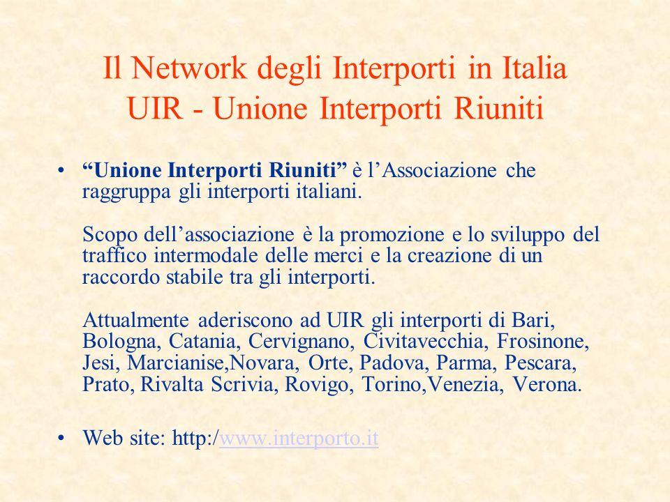 Il Network degli Interporti in Italia UIR - Unione Interporti Riuniti Unione Interporti Riuniti è lAssociazione che raggruppa gli interporti italiani.