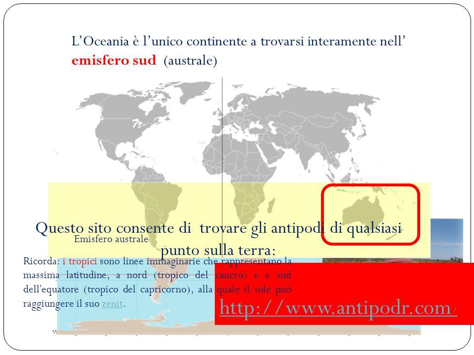 www.didadada.it LOceania è lunico continente a trovarsi interamente nell emisfero sud (australe) È esattamente agli antipodi dellEuropa: se scavassimo