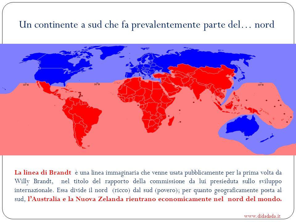 Un continente a sud che fa prevalentemente parte del… nord La linea di Brandt è una linea immaginaria che venne usata pubblicamente per la prima volta