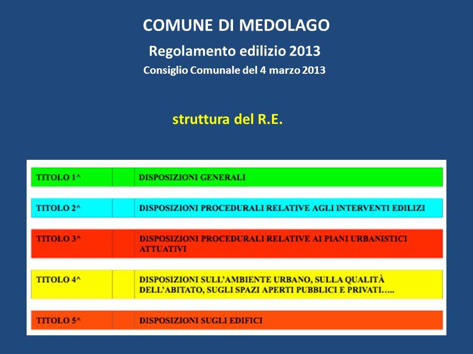 COMUNE DI MEDOLAGO Regolamento edilizio 2013 Consiglio Comunale del 4 marzo 2013 struttura del R.E.