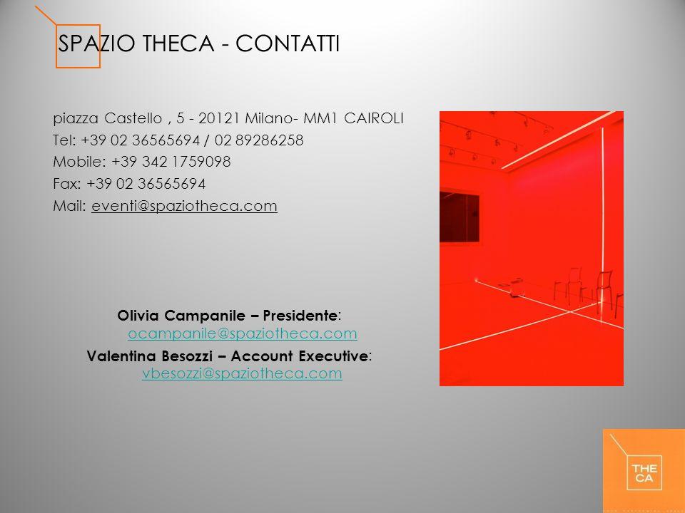 SPAZIO THECA - CONTATTI piazza Castello, 5 - 20121 Milano- MM1 CAIROLI Tel: +39 02 36565694 / 02 89286258 Mobile: +39 342 1759098 Fax: +39 02 36565694