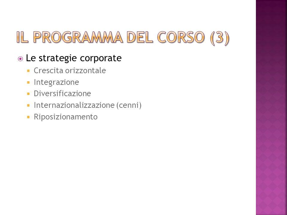 Le strategie corporate Crescita orizzontale Integrazione Diversificazione Internazionalizzazione (cenni) Riposizionamento
