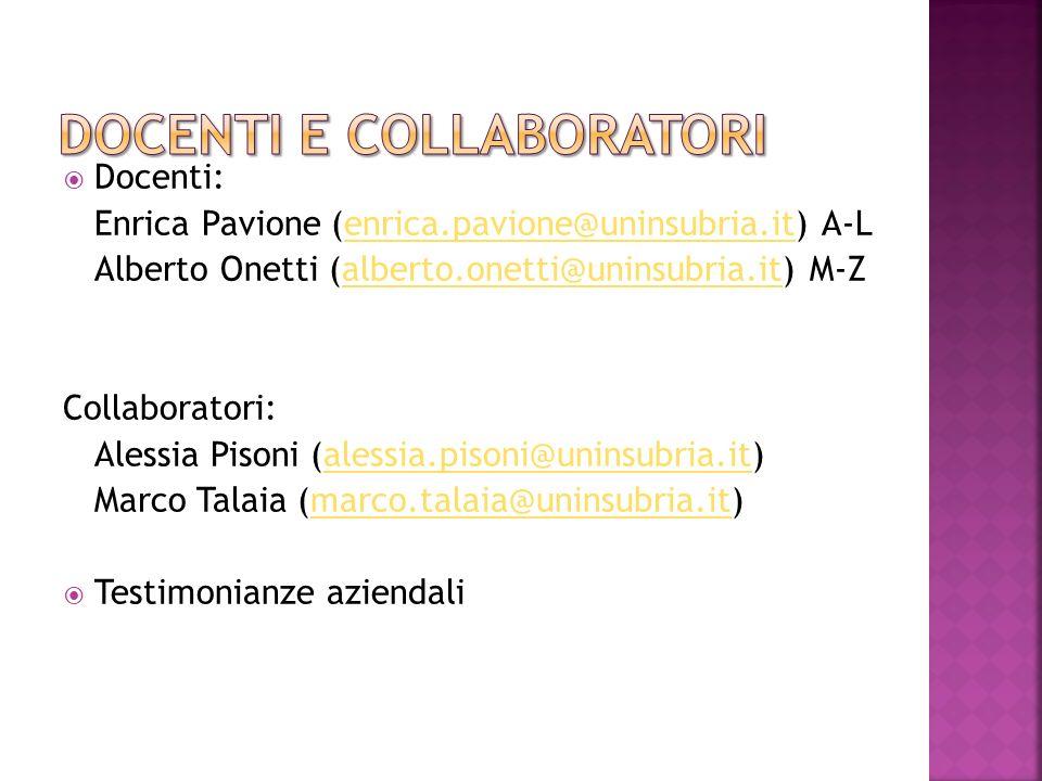 Docenti: Enrica Pavione (enrica.pavione@uninsubria.it) A-Lenrica.pavione@uninsubria.it Alberto Onetti (alberto.onetti@uninsubria.it) M-Zalberto.onetti