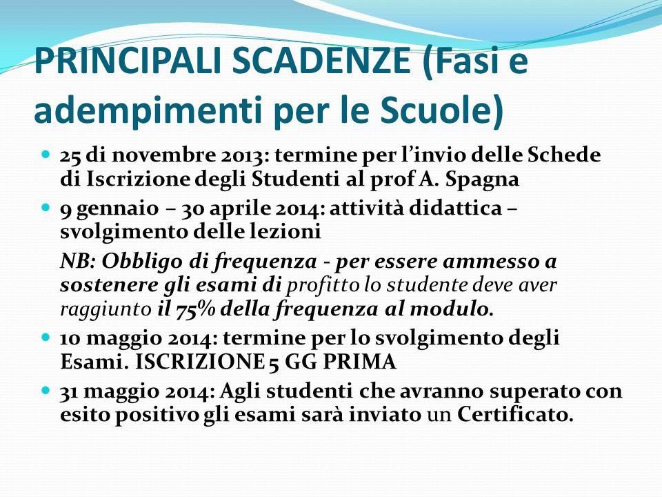 PRINCIPALI SCADENZE (Fasi e adempimenti per le Scuole) 25 di novembre 2013: termine per linvio delle Schede di Iscrizione degli Studenti al prof A. Sp