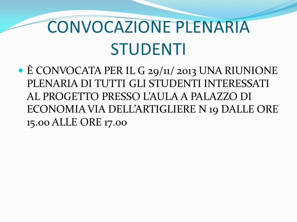 CONVOCAZIONE PLENARIA STUDENTI È CONVOCATA PER IL G 29/11/ 2013 UNA RIUNIONE PLENARIA DI TUTTI GLI STUDENTI INTERESSATI AL PROGETTO PRESSO LAULA A PAL