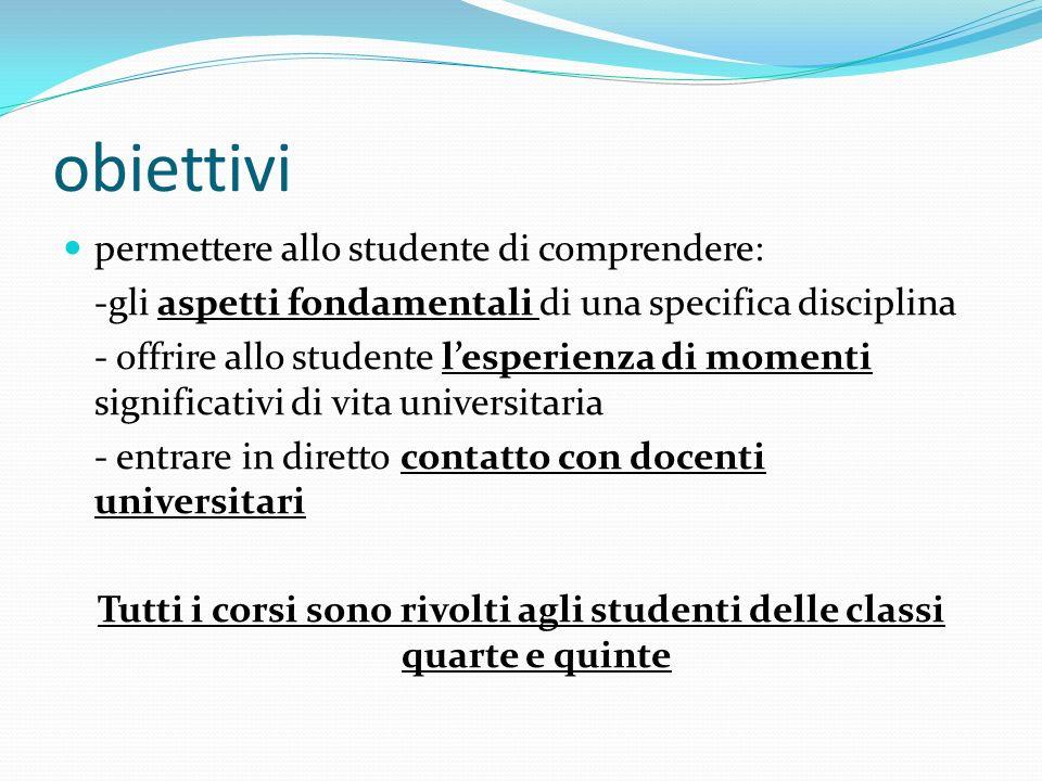 obiettivi permettere allo studente di comprendere: -gli aspetti fondamentali di una specifica disciplina - offrire allo studente lesperienza di moment