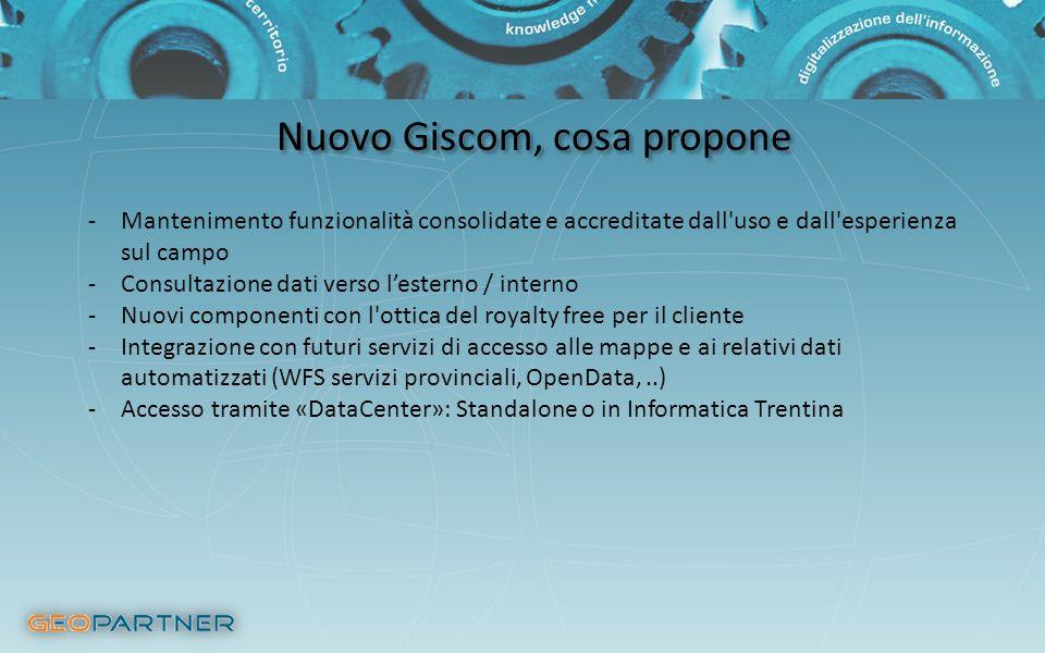 Nuovo Giscom, cosa propone -Mantenimento funzionalità consolidate e accreditate dall'uso e dall'esperienza sul campo -Consultazione dati verso lestern