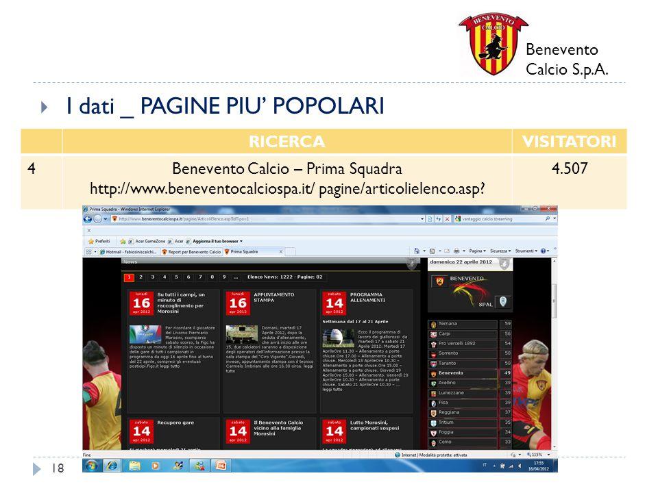 Benevento Calcio S.p.A. I dati _ PAGINE PIU POPOLARI 18 RICERCAVISITATORI 4Benevento Calcio – Prima Squadra http://www.beneventocalciospa.it/ pagine/a