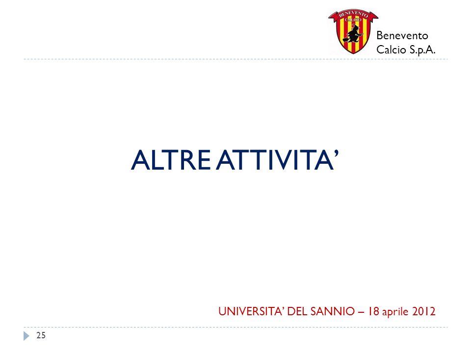 Benevento Calcio S.p.A. ALTRE ATTIVITA 25 UNIVERSITA DEL SANNIO – 18 aprile 2012