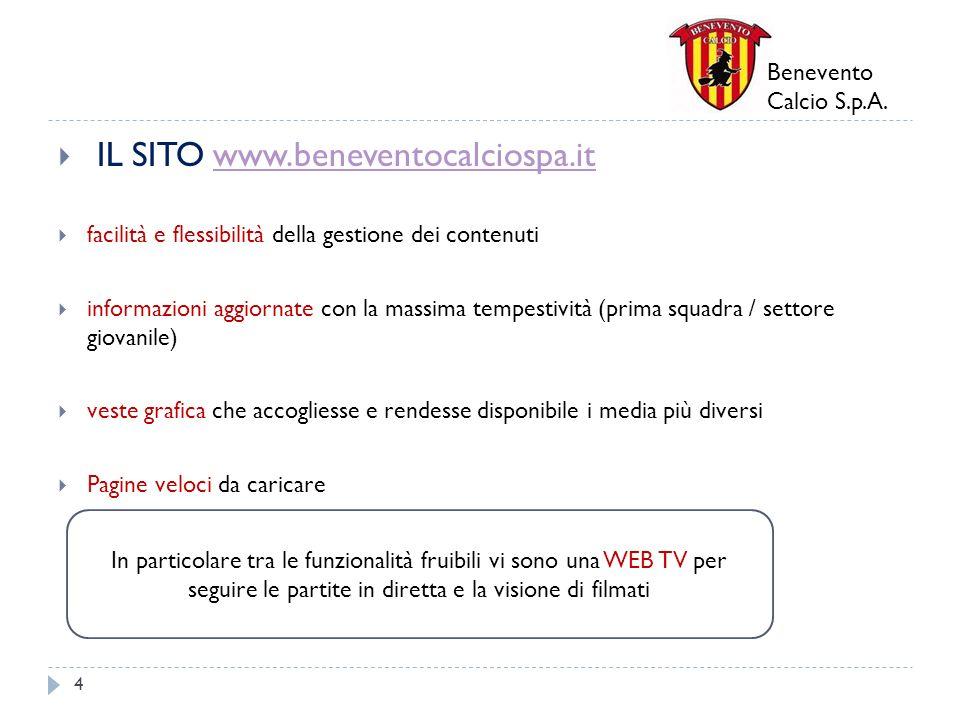 Benevento Calcio S.p.A. IL SITO www.beneventocalciospa.itwww.beneventocalciospa.it facilità e flessibilità della gestione dei contenuti informazioni a