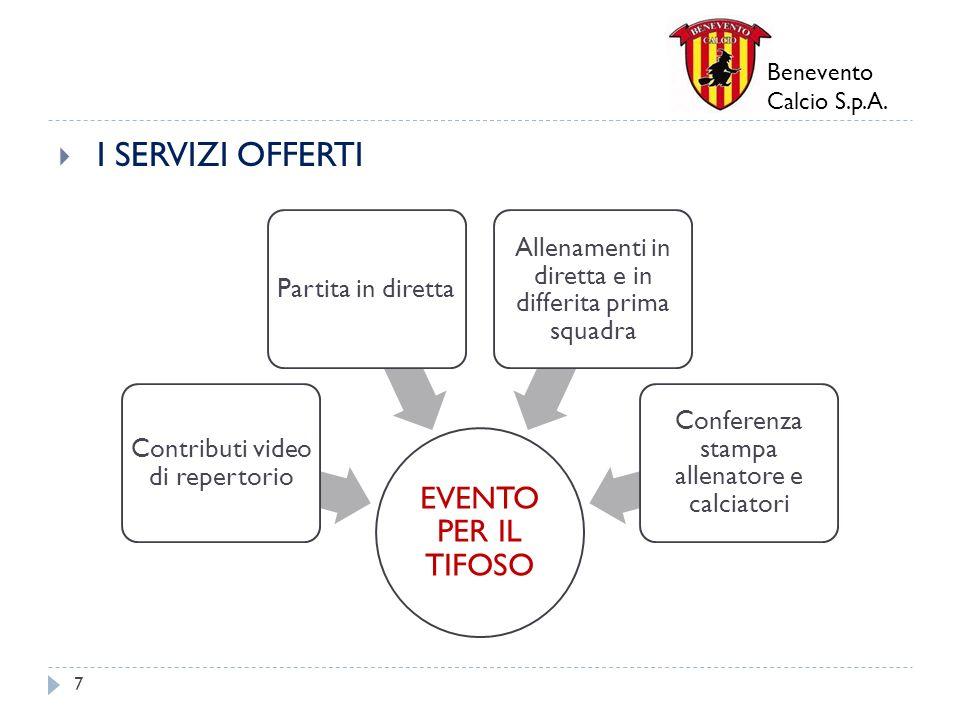 Benevento Calcio S.p.A. I SERVIZI OFFERTI 7 EVENTO PER IL TIFOSO Contributi video di repertorio Partita in diretta Allenamenti in diretta e in differi