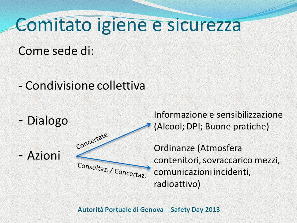 Comitato igiene e sicurezza Come sede di: - Condivisione collettiva - Dialogo - Azioni Informazione e sensibilizzazione (Alcool; DPI; Buone pratiche)