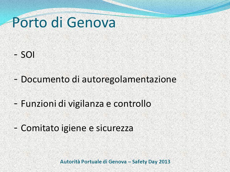 Porto di Genova - SOI - Documento di autoregolamentazione - Funzioni di vigilanza e controllo - Comitato igiene e sicurezza Autorità Portuale di Genova – Safety Day 2013