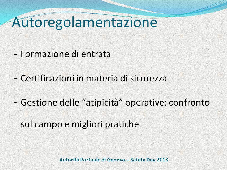 Certificazione - Crescita complessiva : +84% sett.2012/2011 - Crescita settore trasporti e logistica: 14% totale - Risultati concreti: - 27% frequenza infortuni -35% gravità infortuni Autorità Portuale di Genova – Safety Day 2013
