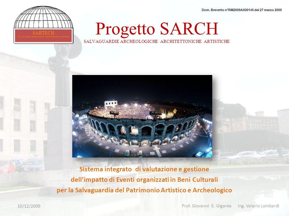 Progetto SARCH SALVAGUARDIE ARCHEOLOGICHE ARCHITETTONICHE ARTISTICHE Sistema integrato di valutazione e gestione dellimpatto di Eventi organizzati in