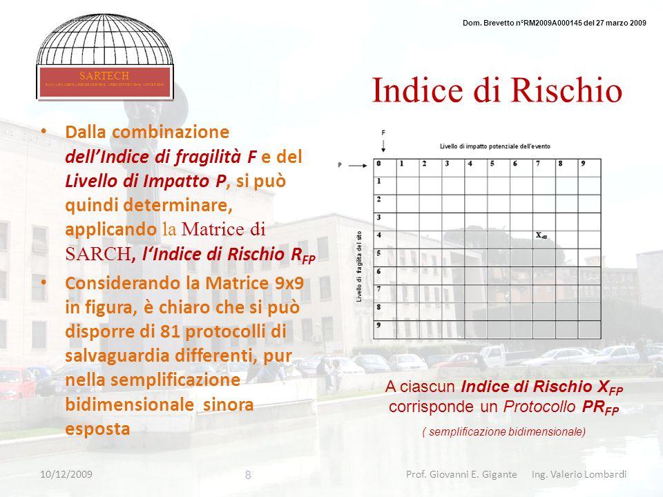Indice di Rischio Dalla combinazione dellIndice di fragilità F e del Livello di Impatto P, si può quindi determinare, applicando la Matrice di SARCH,