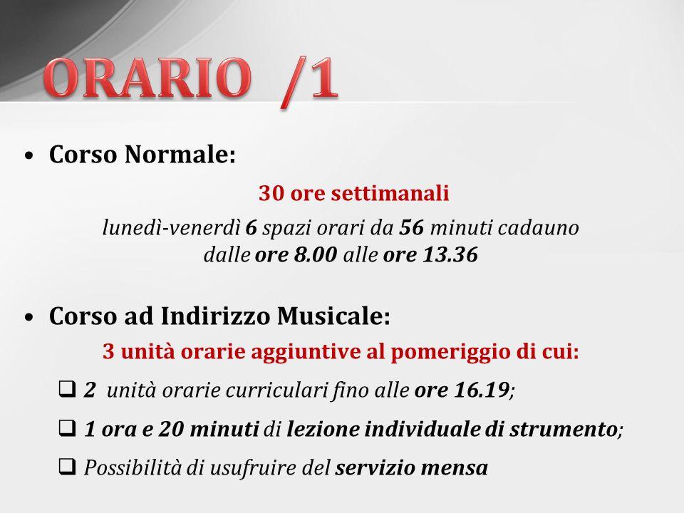 N.B Il rientro pomeridiano curricolare solo Corso ad Indirizzo Musicale, giovedì