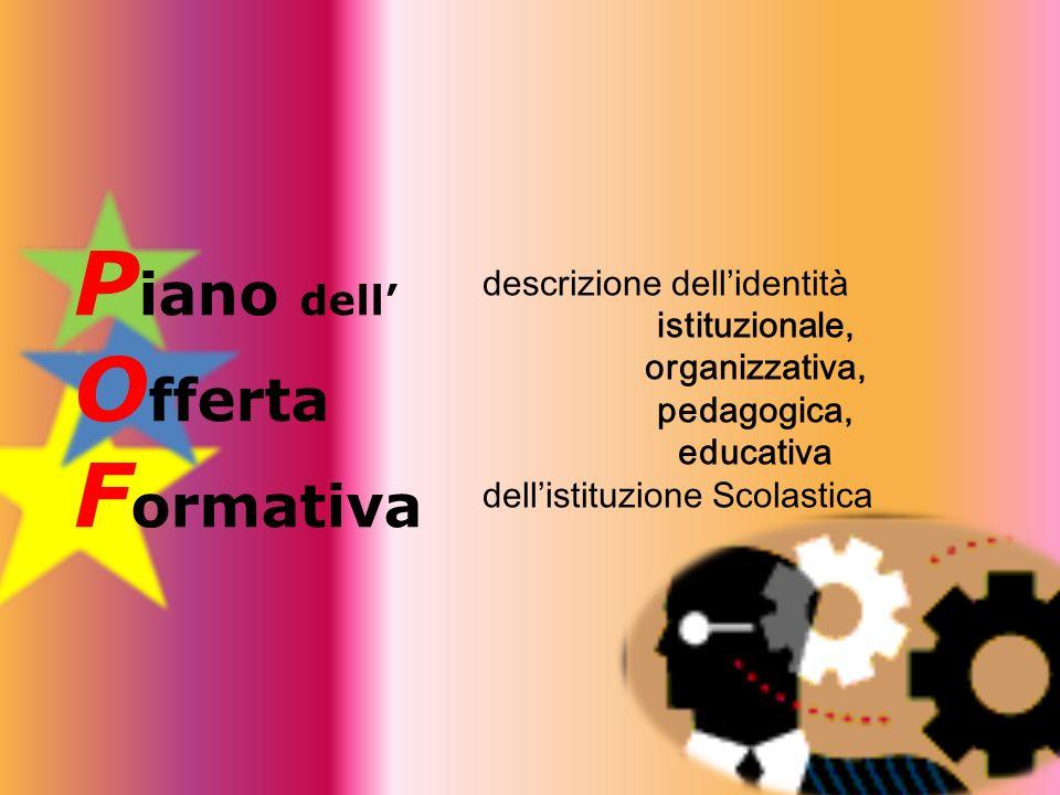 P iano dell O fferta F ormativa descrizione dellidentità istituzionale, organizzativa, pedagogica, educativa dellistituzione Scolastica