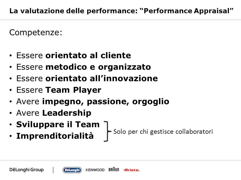 La valutazione delle performance: Performance Appraisal Competenze: Essere orientato al cliente Essere metodico e organizzato Essere orientato allinno