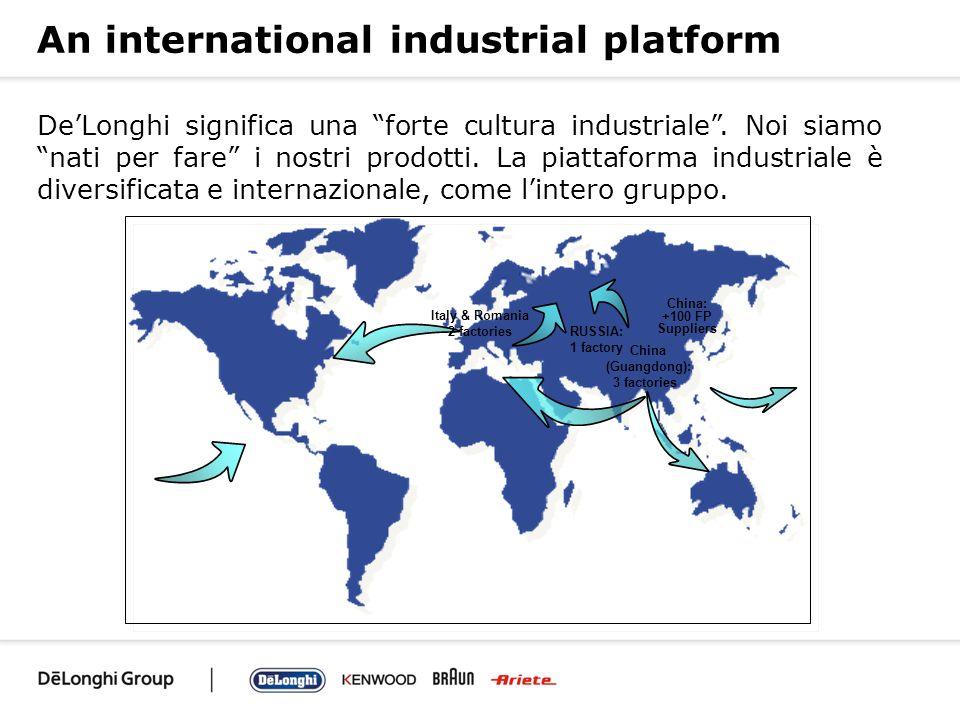 An international industrial platform DeLonghi significa una forte cultura industriale. Noi siamo nati per fare i nostri prodotti. La piattaforma indus
