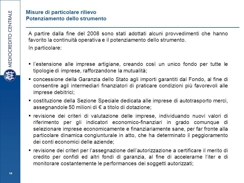 14 Misure di particolare rilievo Potenziamento dello strumento A partire dalla fine del 2008 sono stati adottati alcuni provvedimenti che hanno favorito la continuità operativa e il potenziamento dello strumento.
