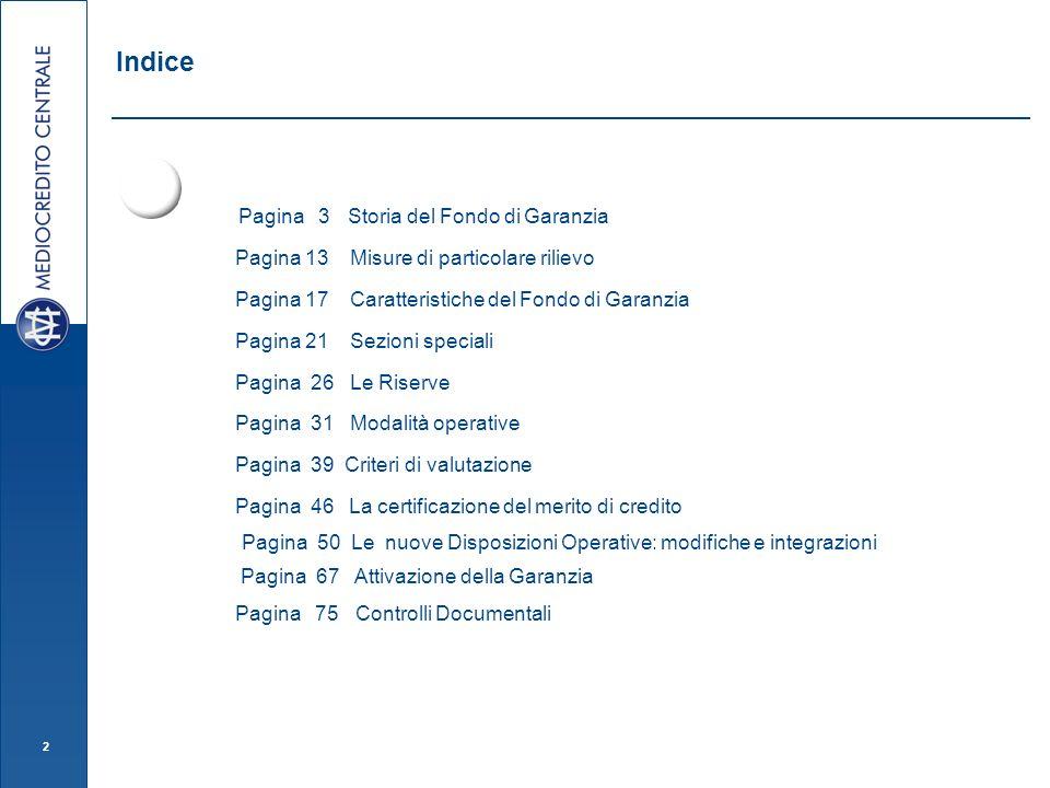 2 Indice Pagina 3 Storia del Fondo di Garanzia Pagina 13 Misure di particolare rilievo Pagina 17 Caratteristiche del Fondo di Garanzia Pagina 21 Sezio