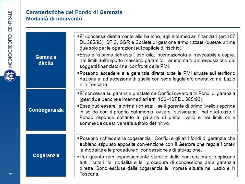 20 Garanzia diretta E concessa direttamente alle banche, agli intermediari finanziari (art.107 DL 385/93), SFIS, SGR e Società di gestione armonizzate