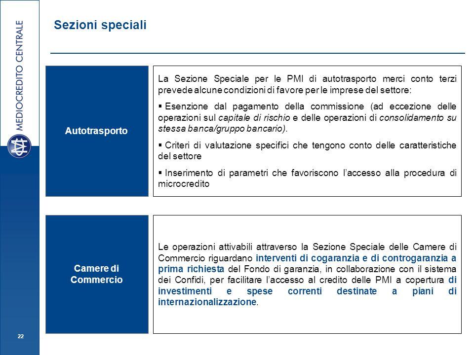 22 Sezioni speciali Autotrasporto Camere di Commercio Le operazioni attivabili attraverso la Sezione Speciale delle Camere di Commercio riguardano int