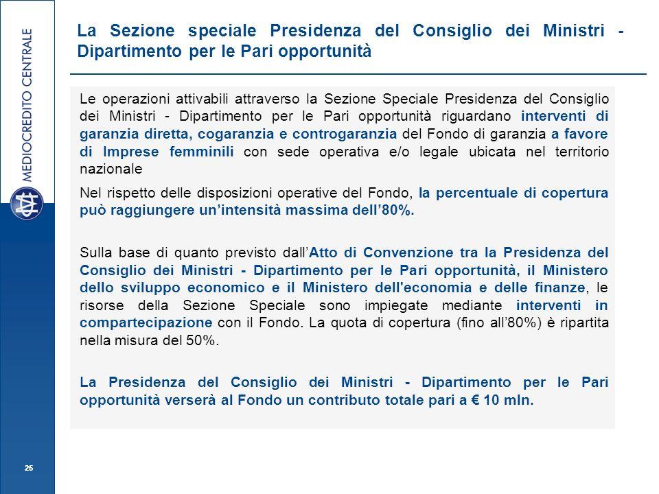 25 Le operazioni attivabili attraverso la Sezione Speciale Presidenza del Consiglio dei Ministri - Dipartimento per le Pari opportunità riguardano int