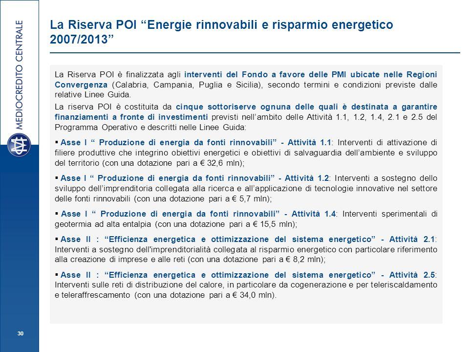 30 La Riserva POI Energie rinnovabili e risparmio energetico 2007/2013 La Riserva POI è finalizzata agli interventi del Fondo a favore delle PMI ubicate nelle Regioni Convergenza (Calabria, Campania, Puglia e Sicilia), secondo termini e condizioni previste dalle relative Linee Guida.