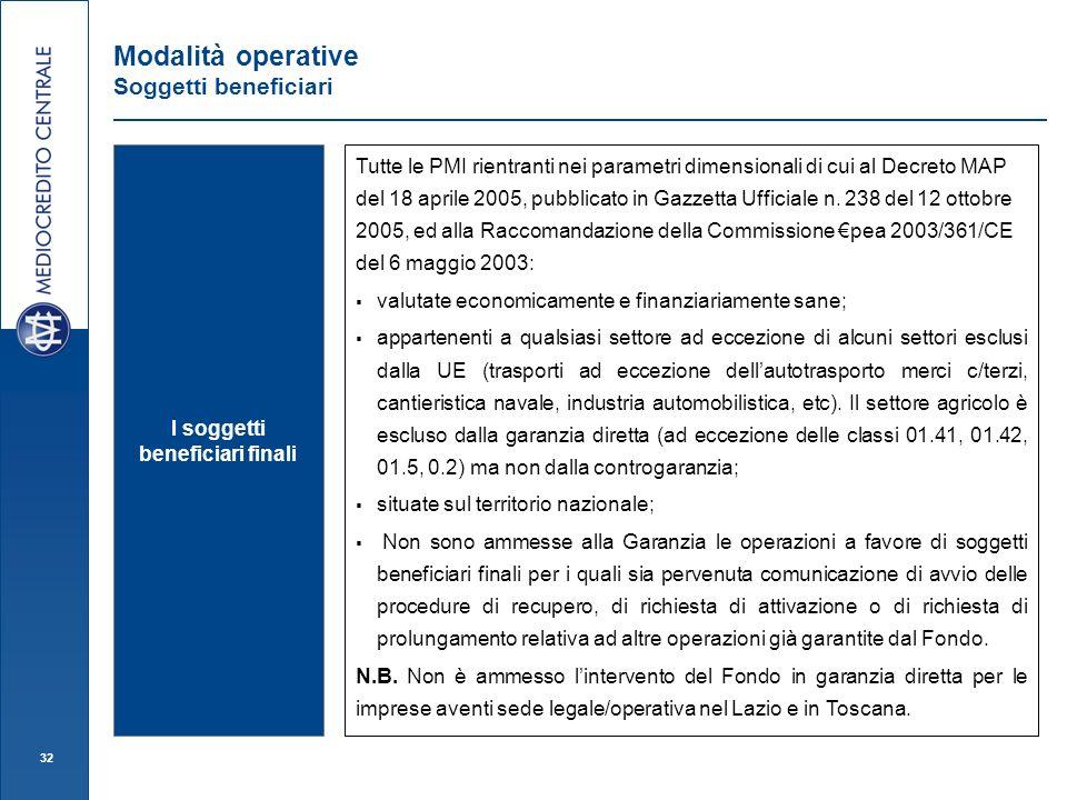 32 Modalità operative Soggetti beneficiari I soggetti beneficiari finali Tutte le PMI rientranti nei parametri dimensionali di cui al Decreto MAP del 18 aprile 2005, pubblicato in Gazzetta Ufficiale n.