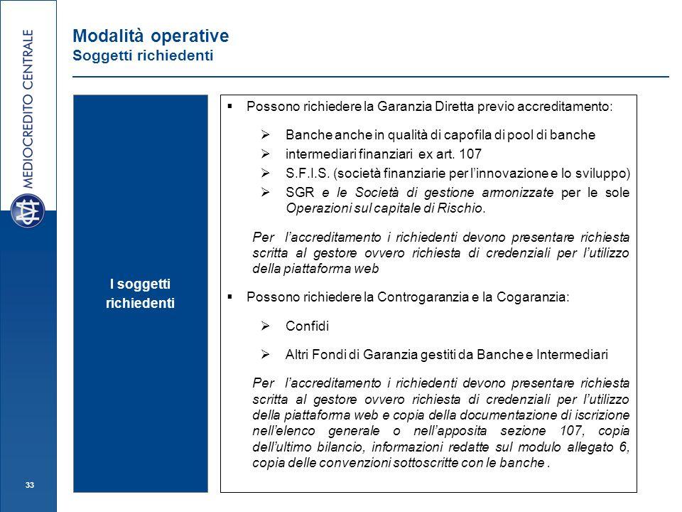 33 Modalità operative Soggetti richiedenti I soggetti richiedenti Possono richiedere la Garanzia Diretta previo accreditamento: Banche anche in qualità di capofila di pool di banche intermediari finanziari ex art.