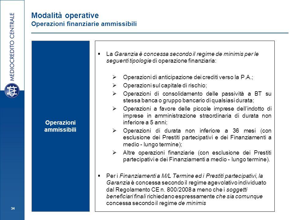 34 Modalità operative Operazioni finanziarie ammissibili Operazioni ammissibili La Garanzia è concessa secondo il regime de minimis per le seguenti ti